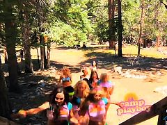 Camp of young and big titted playboy bunnies screaming