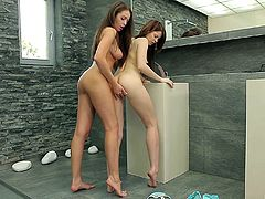 Romantic lesbian fuck in a bathroom for Judy Smile and Nelly Sullivan