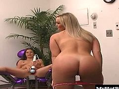 Who will take off their shirt and panties, giving you a look at their delicious huge knockers and completely shaved snatch. While the brunette rides the sex machine, including a hand held vibrator, the pierced blonde masturbates, until its her turn to get her boobs squeezed.