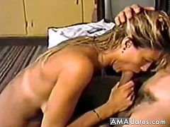 A pretty blonde gets fucked in the mouth and then takes his sperm in her mouth, which she despise.