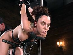 Roxanne Rae is ready to receive fresh portion of new sensations and to try hard metal bondage. She gets metal clamps on her nipples and her master's gloved hand over her face, to drown out her cries and not allow her to take a breath.