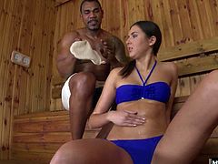 She can feel his boner rising, pushing out of the towel hes wearing and into her back. Agness gets so horny she pushes the guy down and starts in with a hot 69 oral session. Once shes creamed his face with climax juice, she drops to her knees to enjoy every hot shot of cum pumping out of that big black cock, while she teases her twat some more