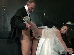 Olga is banging the best man. Shes always been a slut and getting married hasnt changed a thing. She deepthroats the guys cock in the hallway and then squats down to get her pussy filled with dick. Shes one naughty bride and shes happy to be cheating