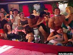 They cant get enough cock and they have no problem taking turns sucking on them while an audience watches and encourages them along. The cocks are hard the ladies horny and the club is just getting going. Check it out as these ladies throat strangers cock in front of a room full of voyeurs.