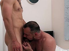 This horny gay man often fantasized about his stepdad's cock. One day he set a trap for his stepdad and recorded him jerking of to his nude picture. Hot stepdad had two choices, either he fucks his bubble butt stepson, or his wife sees the video. What would you do in this situation?