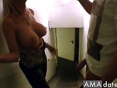 In the appartment building a drunk dude picked up this hot sexy big tits girl.