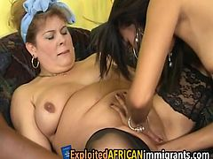Amazingly plump big tits milf and her two black girlfriends start using big dildos to play with their pussies before fingering each other.