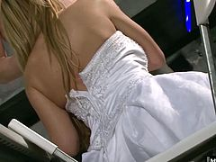 Shes mingling with the guests when she runs into an old friend of her new husband. They really hit it off and soon Antonia is sucking his cock and getting fucked in her wedding dress. When Antonia finally takes the whole dress off, her big boobs bounce as she gets fucked from behind.