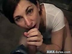 A lovely short-haired brunette wife makes her husband's cock spit cum with her dirty talking and slippery tongue and mouth.