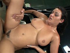 Five auto mechanics in this gonzo group sex session from Digital Sins Bang Bang Bang, eagerly gulping down their cocks and getting her immaculatelygroomed pussy fucked, before taking load after load in her face.