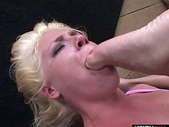All she wants is a dick to suck but she gets way more than that Watch this blonde slut gets absolutely dominated and played with like a doll Theres nothing she wouldnt do to get that dick