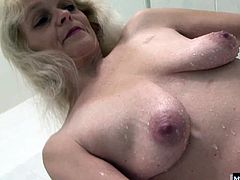 Her tired old pussy needs the biggest cock she can find, so her black boyfriend definitely fills up the space After Evelin gets her mouth and pussy pumped with cock, she has her fuck buddy spill his seed all over her natural, hugely hairy bush