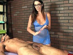 This sexy masseuse has been asked many times for a happy ending before..but today is the day she's gonna do something about it. She gags the poor man and dominates his cock plus every move. She wants to give him a painful handjob. Slapping his poor cock and squeezing load filled balls, she takes him to the edge..Will she let him release his load?