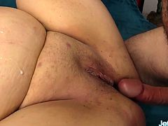 Sexy BBW shows her big boobs fat ass and meaty pussy She rub and finger her pussy Then sucks a hard dick so good And then gets her pussy reamed good in many positions