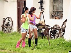 Cleaning up around the barn and stalls isnt the only thing Mia Manarote and Tess Lyndon have to do after a long ride. They also like to take turns riding each other out in back of the paddock Using fingers, tongues and toys, Mai and Tess take their time enjoying all the thrills that only such lesbians can enjoy