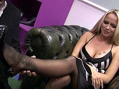 Chubby shoe slut having her smooth pussy penetrated tirelessly