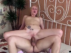 She wants to have anal sex with her boyfriend. Hes sucks on her perky titties first before letting her suck his dick till its nice and hard enough to creampie her butthole with.
