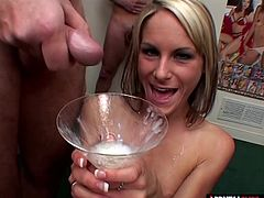 Whats better than a big glass of milk in the morning For Courtney Simpson theres nothing like big gulps of cum for breakfast Multiple men cum in a cocktail glass and she drinks it all Cheers