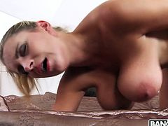 Czech blonde Katarina Hartlova washes her big jugs and goes wild on a hard dick