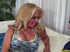 Blonde mature slut gets undressed by a bald guy He kisses her And lick her pussy She sucks his dick Then she takes the dick in her pussy and get fucked in many positions He cums on her tits