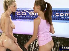 Jenna Haze introduces us to the other eight participants in the second CDGirls lesbian oil orgy. Jenna and eight of her hottest girlfriends oil up for the pussy eating contest. The rules of this contest is each contestant licks Jenna's pussy to see who eats pussy the best.