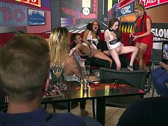 Amazing sexy beauties, Lyen Parker and Angel Rush, will be brutally humiliated in public and you have a chance to be involved in this hot action. Join us and take part in a wild orgy at the bar. Have fun!