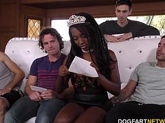 It's a special day for ebony beauty Daya Knight! Today is her very first gang bang! She's offering up all three holes as a special treat to all the white boys she invited to her party!