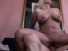 Now she is in a hardcore sex scene that you will love She is a hot blonde who looks great as her pussy gets pounded and she rubs her pussy so she can come too. Finally her man leaves a creamy cumshot inside of her mature pussy and she loves it
