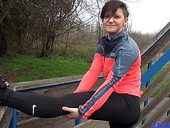 Flexible and athletic Kimberley takes it far up her cute litt
