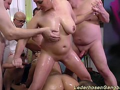 extreme wild german chubby slippery nuru massage gangbang fuck party orgy with two crazy chicks