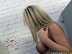 Kaylee Hilton is sucking down on her first anonymous big black cock at a public restroom. Then she rides that black dick until her pussy gets creampied by the sranger...