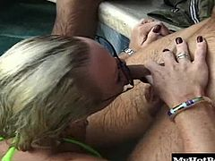 Youll find outdoors at a hotel swimming pool, looking for unsuspecting guys to give a blowjob. Youll see the beautiful, big boobed blonde, giving one guy a public deepthroat blowjob, while everyone is looking at her hoping their next. The black girl is also sucking dick for a cumshot to swallow.