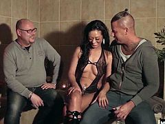 Shes not playing around when she says she could take them Two older guys are more than happy to tag team her tight pussy, and help themselves to her wet and generous mouth as they cuff her in every position known to man