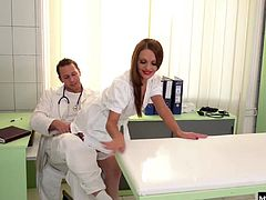Today the doctor though the best way for her to do that was to get on the exam table for a full on double penetration. Dominica loves the full pressure she feels when shes got a cock in her ass and one in her pussy, making her cum with delight.