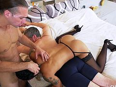 Honey is so tired of her pathetic husband. She has no problem cheating on him. She even does it in the same bed while her husband is resting. The hot milf fucks her new man so hardcore while her loser husband just lays there.