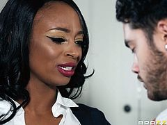 To make sure that her stepson will have the best grades in class, ebony stepmom Lola distracts his friend from studying. It's not a hard task for this busty, dark skinned goddess. She whipped his cock out and started jacking it off. He was out of his mind. Wouldn't you be?! She is a true vixen!