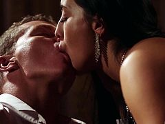 Classy brunette Anna Rose kissing and fucking her aroused pal