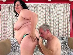 Horny BBW gets her pussy rubbed tits sucked and kissed on her belly and ass She sucks his dick And then gets her pussy and asshole fucked deep and good in many positions and spills cum over her pussy