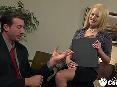 Huge round boobs Codi Carmichael gagging and fucking hard a massive cock in the office