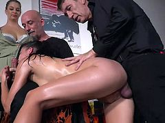 This is one really hot video! Amazing babe, Dolly Diore, adores having her pussy drilled by a hard cock, as she gives an amazing blowjob to Ram at the same time, while Cherry Kiss is waiting for her turn to join in the fun. Hot stuff!