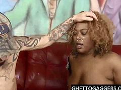 Fat ebony whore gags on cocks & does ass to mouth