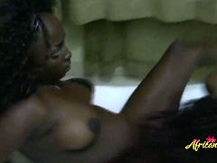 Delicate ebony babes like to smash the juice out of those tight pussies so they are doing their best to satisfy each other to the fullest.