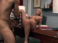 Stunning blonde Alanah Rae with enormous boobs sucking and riding on huge cock