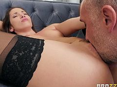 This sexy brunette really knows how to work a cock. She loves the feel of a stiff rod in her hands. The beauty slobbers all over it and jerks him off really fast. She wants his tongue and cock inside of her vagina.