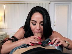 Cristal was changing and putting on lotion, not knowing there was a pervert in her closet spying on her. She eventually caught him and gave a reward instead of a punishment, in the form of an amazing blowjob. What else will she do for him?