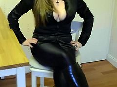 Satin Blouse Cleavage Leggings Leather Boots