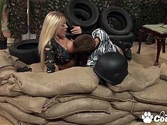 Big tits military Cindy Behr and Kaia Kane fucking huge cock and gets cumshot in trench