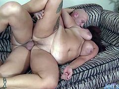 Mature BBW treats physical trainer with snacks and tea Then she lets him fuck her plump pussy deep and good in many positions He cums in her mouth