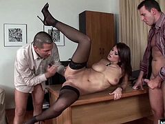 Her boss and his shop foreman called a meeting, where they told her to sit on the desk, so they can lick her pussy, before giving her a DP, until this MMF threesome ends with this luscious brunette getting a thick, pearl necklace