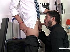 Cedric has a thing for older men, and has fantasized about having sex with a priest. So, when he brings Ferdinan his luggage hes delighted to discover the mature priest wants a piece of his young Latin ass. A well-placed hand gets things started and soon both are kissing and groping each other. It isnt long before the two have their pants down and Cedric drops to his knees. Ferdinan enjoys the boys lips on his big stiff cock and then kneels to suck the Cedrics uncut dick. The oral pleasuring
